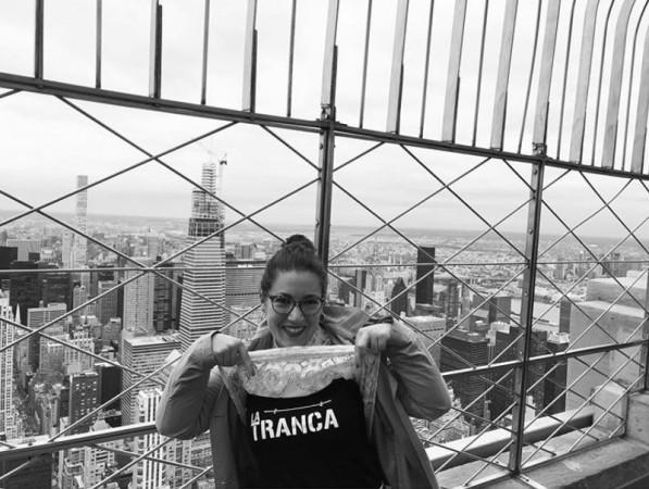 Claudia trancosa pisando Nueva York. Octubre 2019