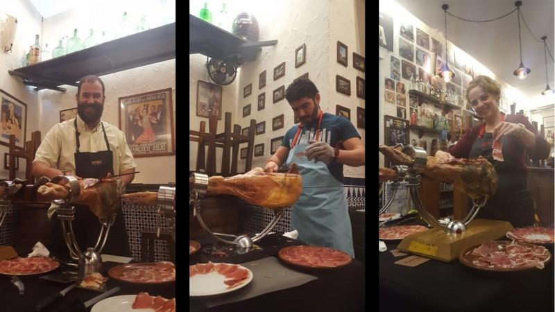 La Tranca Málaga curso jamón cortadores cañas tapas