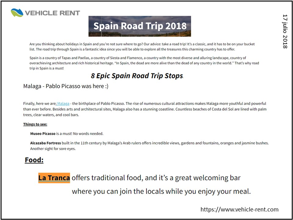 La Tranca Málaga Vehicle rent spain roadtrip