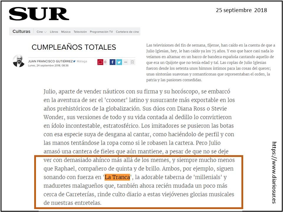 La Tranca Málaga Carretería tapas Diario Sur Iglesias Raphael