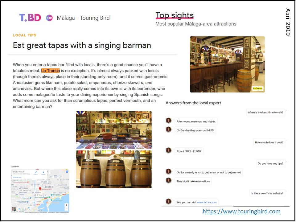 La Tranca Málaga Touring Bird tapas barman sabor cañas