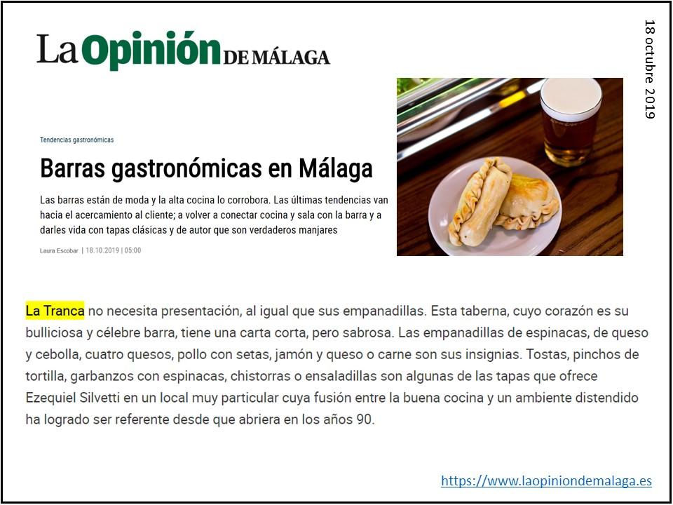 La Tranca Málaga barras gastronómicas  empanadas Opinión Delantal